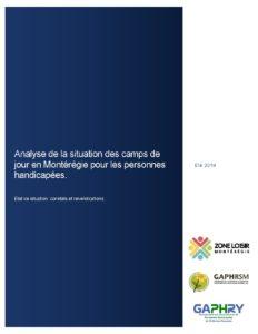 Page couverture de l'analyse des camps de jour en Montérégie_Février 2020