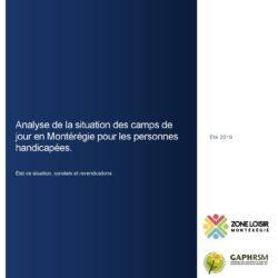 Dépôt du rapport: État de situation en camp de jour Montérégie Été 2019