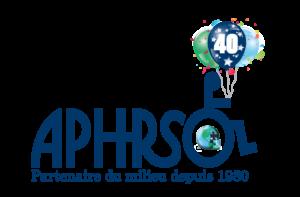 logo de l'APHRSO auquel est ajouté un bouquet de ballons identifiant le 40e