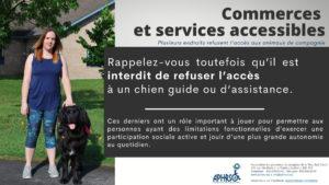 Il est interdit de refuser l'accès à un chien guide ou d'assistance. Ces derniers ont un rôle important à jouer pour permettre aux personnes ayant des limitations fonctionnelles d'exercer une participation sociale active et jouir d'une plus grande autonomie au quotidien.