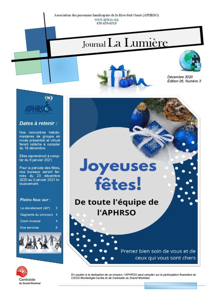 page couverture du journal