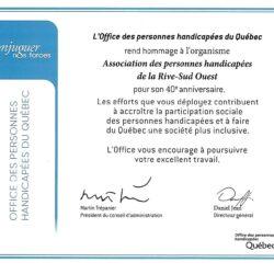L'office des personnes handicapées du Québec rend hommage à l'APHRSO pour son 40e anniversaire